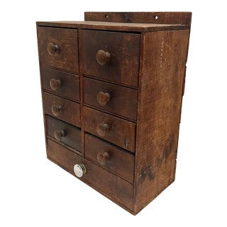 Antique Apothecary Cabinet, 19th Century Wooden Hanging Spice Storage For Sale