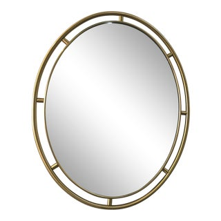 1970s Oval Brass Framed Wall Mirror For Sale