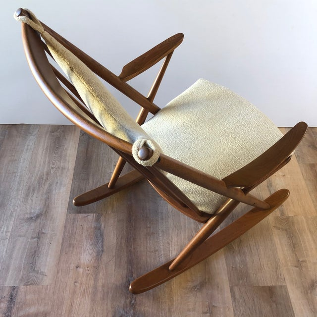 Newly-Upholstered Frank Reenskaug Teak Rocking Chair for Bramin For Sale - Image 10 of 11