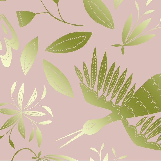 Transitional Julia Kipling Otomi Grand Wallpaper, 3 Yards, in Hyacinth, Gold Flash For Sale - Image 3 of 4