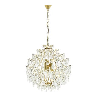 Swarovski Crystal Glass and Gold Chandelier, 1970s For Sale