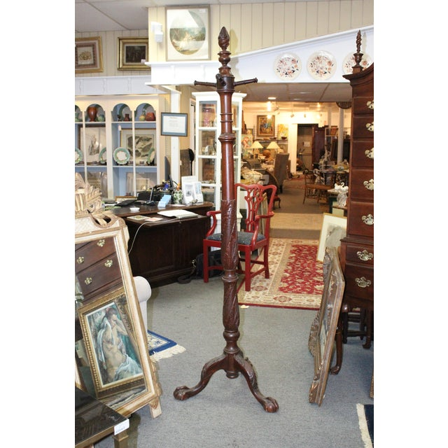 Vintage Mid-Century Mahogany Carved Coat Rack For Sale - Image 9 of 9