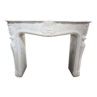 Limestone Mantel with Shell and Palmette Motifs For Sale