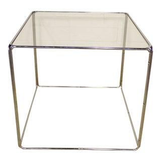 1960s Mid-Century Modern Retro Cube Chrome Table Square
