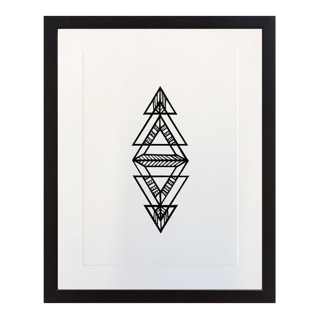 Black Geometric Ink Drawing by Natasha Mistry For Sale