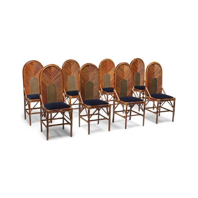 1970s Vivai Del Sud Dining Chairs in Bamboo, Brass & Blue Velvet - Set of 8 For Sale - Image 13 of 13