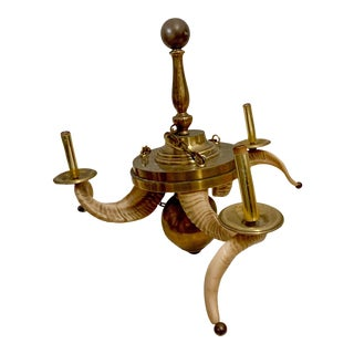Chapman Hollywood Regency Style Brass Ram's Horn Chandelier For Sale