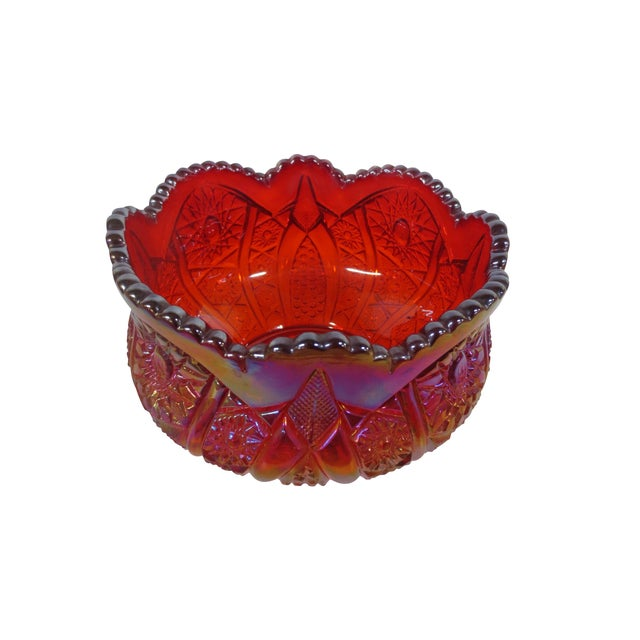 Red Carnival Glass Candy Dish - Image 1 of 4