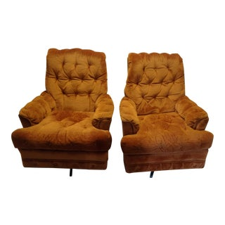 Sheffield Burnt Orange Velvet Swivel Rocking Chairs - a Pair For Sale