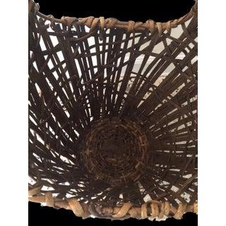 1980s Vintage Handmade Woven Rattan Basket Preview