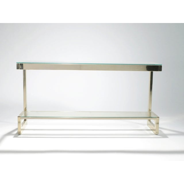Gold Guy Lefevre Pair of Large Brass Console Tables for Maison Jansen, 1970s For Sale - Image 8 of 11