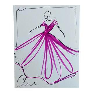 """Fuchsia Ball Gown"" Original Christian Siriano Sketch For Sale"