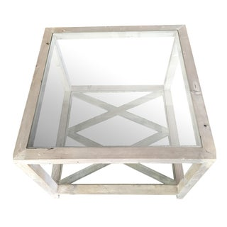 Side Tables Gray-Wash Glass Top - a Pair For Sale
