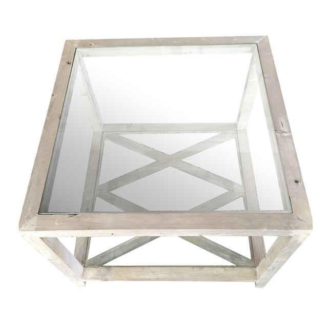 Side Tables Gray-Wash Glass Top - a Pair - Image 1 of 5
