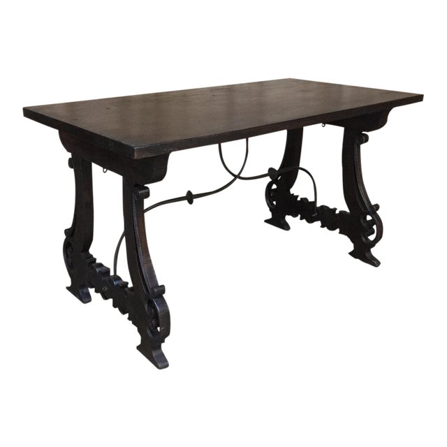 Spanish Dining Table, 19th Century, in Walnut and Wrought Iron For Sale
