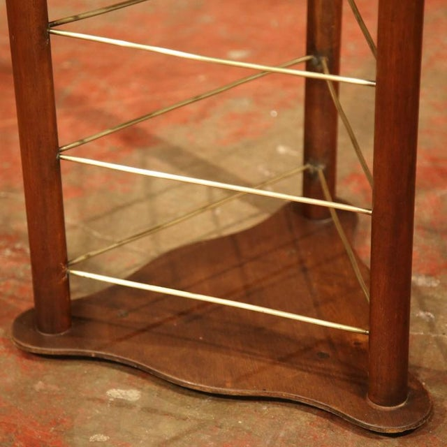 Brass 19th Century French Louis Philippe Walnut Plate Rack For Sale - Image 7 of 9