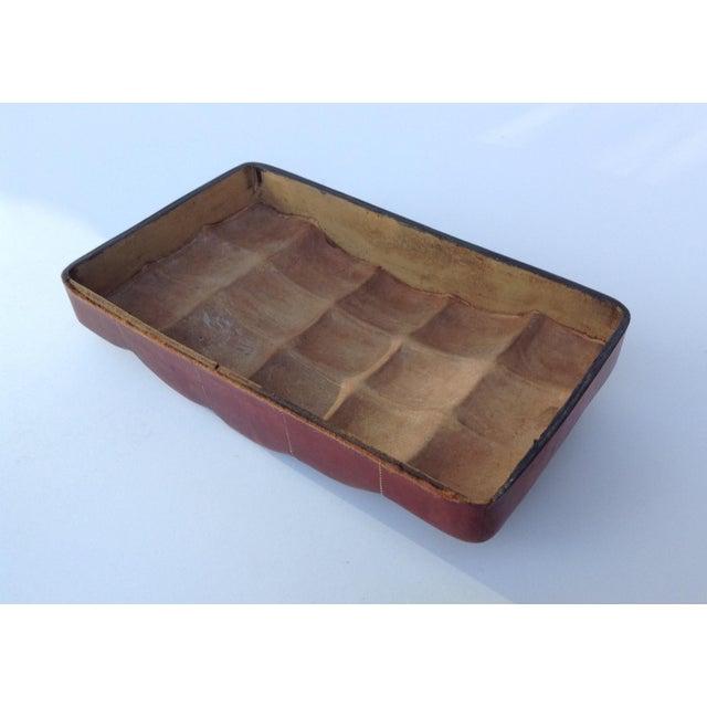 Italian Leather Hand-Tooled Embossed Lidded Keepsake Box For Sale - Image 9 of 11