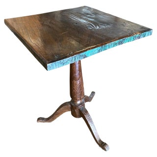 19th Century Primitive Indonesian Square Side Table With Tripod Base For Sale