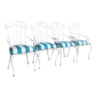 Iron Upholstered High-Back Lawn Chairs- Set of 4 For Sale
