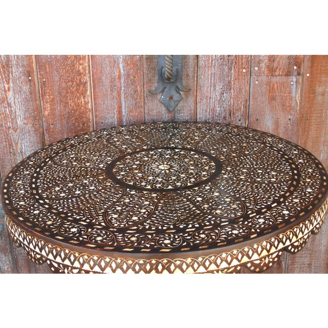 Damascene Inlay Round Table For Sale In Los Angeles - Image 6 of 11