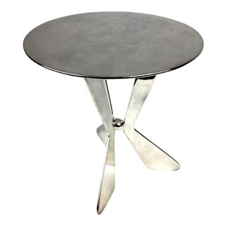 1980s Silver Plated Modern Heavy Pedestal Stand For Sale