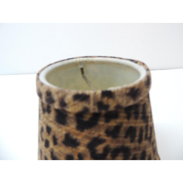 Late 20th Century Candelabra Leopard Cotton Fabric Woven Lamp Shade For Sale - Image 5 of 6