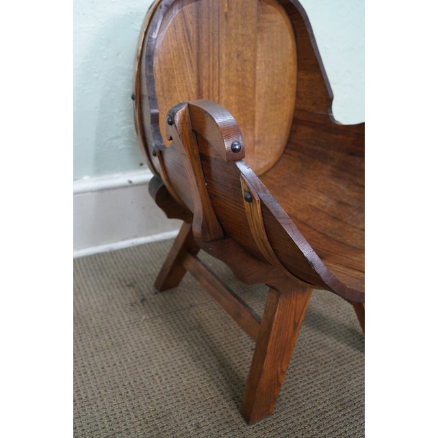 Vintage Oak Barrel Lounge Chairs - A Pair For Sale - Image 5 of 10