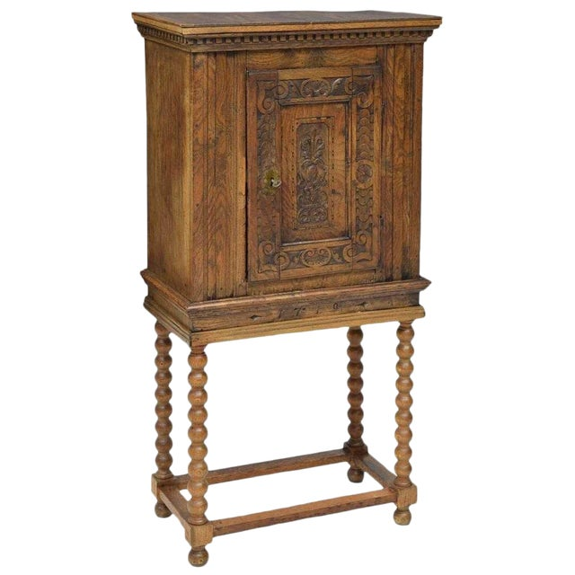 18th Century Baroque Style Carved Cabinet on Stand For Sale