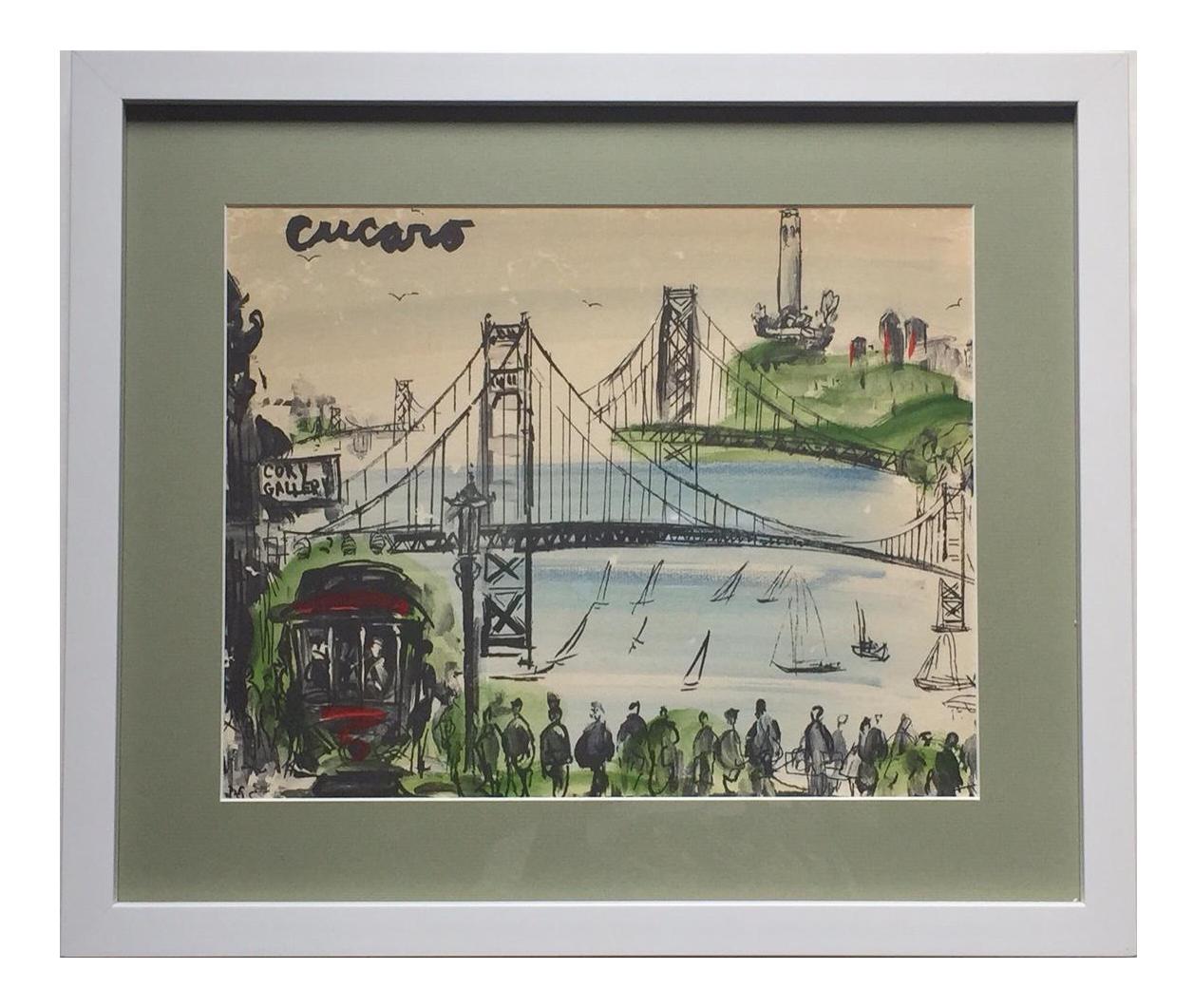 Marvelous Mid Century Modern Art Abstract San Francisco Watercolor Pascal Cucaro