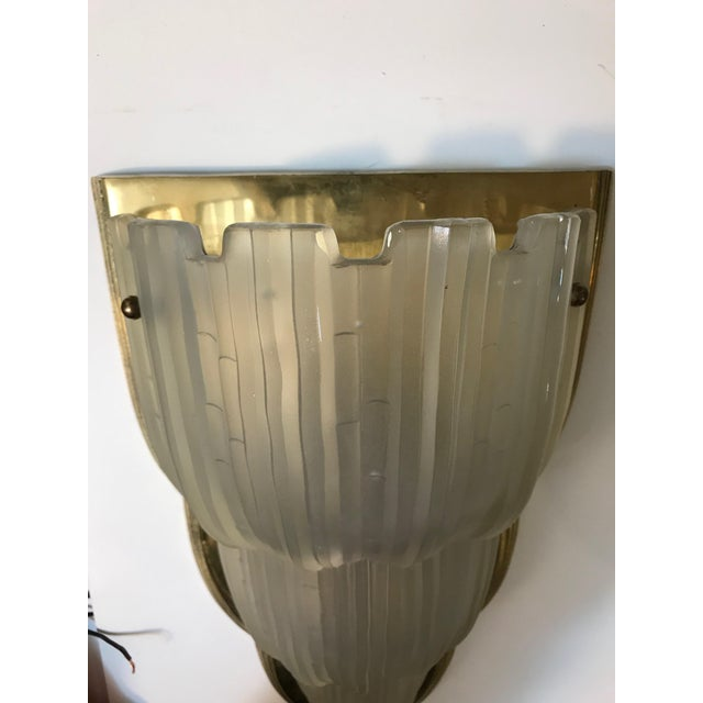 "French Art Deco ""Waterfall"" Sconces Signed by Sabino - Set of 4 For Sale - Image 10 of 13"