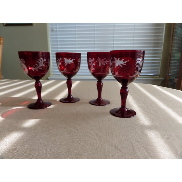 Bohemian Ruby Cut to Clear Wine With Etched Design on Glasses - Set of 4 For Sale - Image 4 of 9
