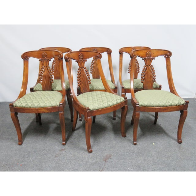 Green 19th Century Antique Empire Klismos Carved Dining Chairs - Set of 6 For Sale - Image 8 of 8
