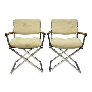 Mid Century Modern Chrome X-Frame Directors Arm Chairs - a Pair For Sale