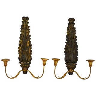 Pair of Italian 1950s Palladio Wood and Gilt Iron Neoclassical Wall Sconces For Sale