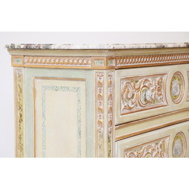 Painted Venetian Style Commode With Marble Top For Sale - Image 11 of 12
