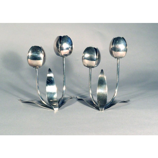 Norwegian Mid-Century Double Silver-Plated Candle Holders - A Pair For Sale - Image 4 of 8