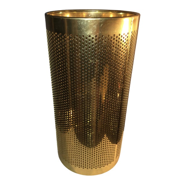 20th Century Italian Brass Wastebasket or Trash Can For Sale
