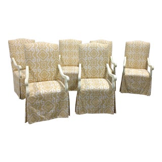 Modern Oscar De La Renta for Century Furniture High Back Skirted Arm Chairs- Set of 6 For Sale