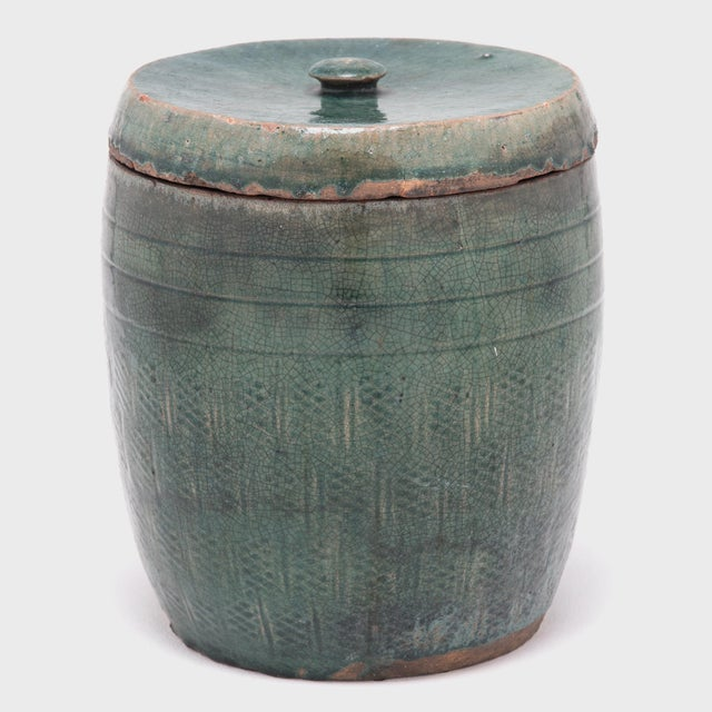 Vintage Chinese Glazed Apothecary Jar For Sale - Image 4 of 9
