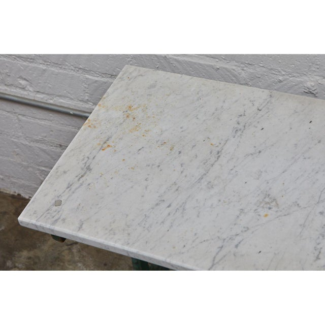 French French Cast Iron Cafe Table With Marble Top For Sale - Image 3 of 8