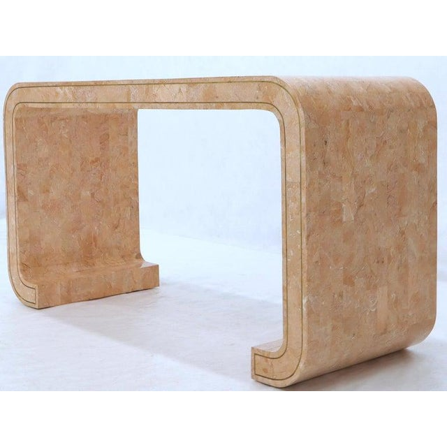 Tessellated Marble Stone Brass Inlay C Bracket Shape Console Sofa Table For Sale - Image 10 of 11