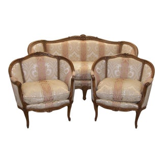 French Louis XVI Style Carved Wood Sofa & Sofa Chairs - Set of 3 For Sale