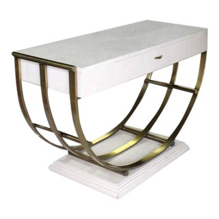 Mid-Century Modern White Pickled Oak Finish Brass U Shape Base Console Table For Sale