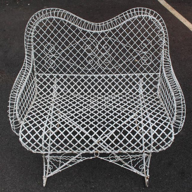 Early 20th Century Wire Mesh Loveseat Settee Outdoor Bench For Sale - Image 5 of 6