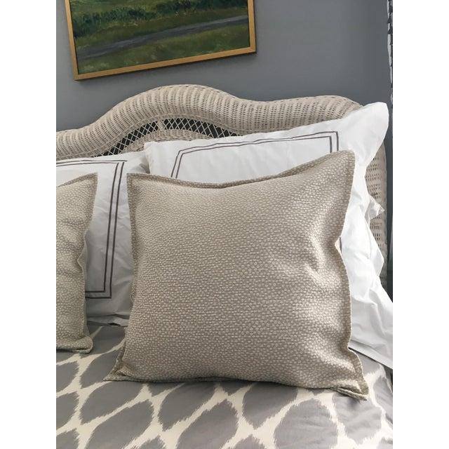 2010s Light Green Cut Velvet Pillows - A Pair For Sale - Image 5 of 7
