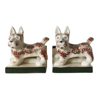 1940s Vintage Ceramic Terrier Bookends - A Pair For Sale