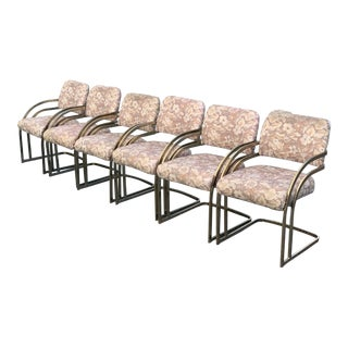 1970s Mid Century Milo Baughman Style Cantilever Brass Dining Chairs - Set of 6 For Sale