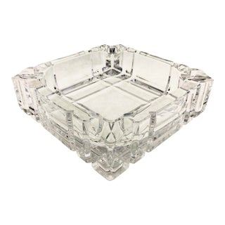 Art Deco Glen Plaid Cut Crystal Ashtray For Sale