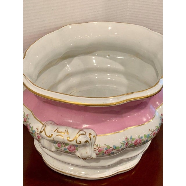 19th Century Pink Floral Porcelain Foot Bath, Attributed to Mintons For Sale In Atlanta - Image 6 of 12