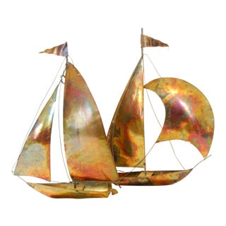Vintage of Fire Cut Metal Sailboats - a Pair